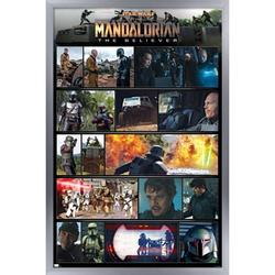 "Trends International Star Wars: The Mandalorian Season 2 - Chapter 15 Grid Wall Poster 16.5"" x 24.25"" x .75"" Silver Framed Version"