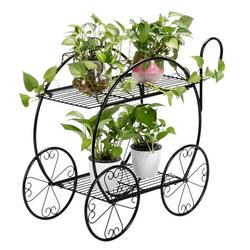 Handle Cart Planter Stand for Succulents and Plants Handle 2-Tier Cart Shape Planter Stand Home Garden Decor Iron Plant Stand