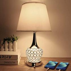 Crystal Table Lamp, Bedside Nightstand Lamp with Dual USB Ports, Modern Table Lamp 4 Way Switch Decorative for Bedroom, Living Room, Dressing Room, A19 6W LED Bulb Included