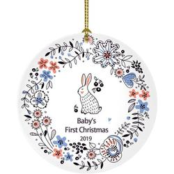 Popeven Baby's First Christmas Ornament Baby Bunny Baby Girl Boy First Christmas Ornament Gift for Baby (Baby's First Christmas Ornament)