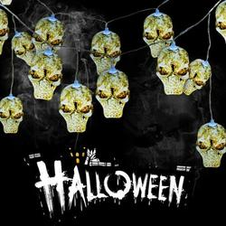 Skull String Lights, Halloween Waterproof 14.8ft 30 LED String Lights for Festival, Party, Holiday,Christmas,Halloween Decorations,Indoor Outdoor Use - Battery Operated,Warm White