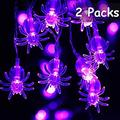 2 Pack Spider Halloween String Lights, 10.5Ft 30 LED Battery Operated Halloween Lights, 2 Modes Flash/Steady On Purple Spider Lights for Halloween Decorations (Purple)