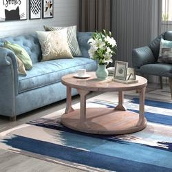 """Simple Design Coffee Table, Rustic Wooden Round Coffee Table/End Table, Vintage End Table for Living Room Balcony, Modern Design Home Furniture w/ Storage Open Shelf, Dusty Wax Coating, 35.4"""", W5716"""