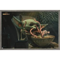 "Trends International Star Wars: The Mandalorian Season 2 - Tentacles Wall Poster 24.25"" x 35.75"" x .75"" Barnwood Framed Version"