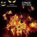 [2 pack] Halloween Pumpkin Fairy Lights Outdoor 20 Ft 40 LED String Lights Battery Operated Pumpkin Lanterns Jack-O-Lantern Lights 8 Modes for Halloween Decor, Indoor, Party