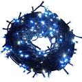 Fullbell 33ft Christmas LED Fairy Twinkle String Lights 100 LEDs with Controller for Chirstmas Tree,Garden,Patio,Multi Strings Connectable(Black Wire)(Blue)
