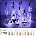 Aluan Wine Bottle Lights with Cork 15LED 10 Pack Bottle Lights Battery Powered Wine Cork Lights String Lights for Party Wedding Christmas Festival Decoration, Cool White