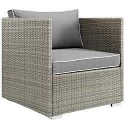 Modern Contemporary Urban Design Outdoor Patio Balcony Garden Furniture Lounge Chair Armchair, Sunbrella Rattan Wicker, Grey Gray