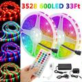 32.8FT LED Strip Lights, bluetooth RGB LED Strips Music Sync Color Changing LED Light Strips 44-Key Remote DIY RGB LED Strips App Controlled Rope Lights for Bedroom Ceiling Christmas Decoration