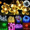 Solar String Lights Easter Christmas Outdoor Fairy Lighting Cherry Blossom 50 LED for Indoor Patio Lawn Garden Holiday Festivals