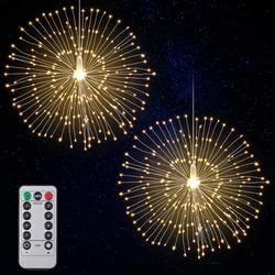 2Pcs Starburst Lights 120 LED Firework Lights Copper LED Christmas Lights, 8 Modes Fairy Light with Remote, Hanging Ball Light for Christmas Bedroom Party Indoor Outdoor Decoration (Warm White)