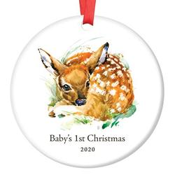 """2020 Baby Boy's First 1st Christmas Ceramic Keepsake Ornament Cute Deer Fawn Newborn Son Infant Male Child 3"""" Flat Porcelain Holiday Tree Collectible with Red Ribbon & Free Gift Box Ethan OR00086-2"""