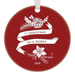 1st Christmas Daddy Ornament 2019 for Expecting New Fathers Parents Collectible Keepsake Ornaments Tree Décor Personalized Seasonal Decoration Baby Shower Gifts 3-Inch Flat Circle Ceramic OR00811