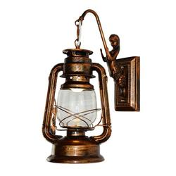 Famure Old Fashion Retro Barn Lantern Wall Lamp Hotel Corridor Aisle Light Engineering Wall Lamp Wall Sconce in Industrial Style Vintage Style and European Style with Antique Glass