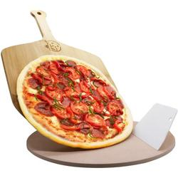 """AILUROPODA 13"""" Round Pizza Stone, Pizza Grilling Stone for Oven, Grill and BBQ, Thermal Shock Resistant Baking Stone with Bamboo Pizza Peel and Scraper"""
