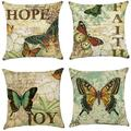 Tayyakoushi Decorative Gorgeous Christmas Throw Pillow Covers 18x18 inch Modern Decorative Cotton Linen Square Pack of 4 Throw Pillow Covers Cushion Case for Sofa, Bed, Car (Butterfly)