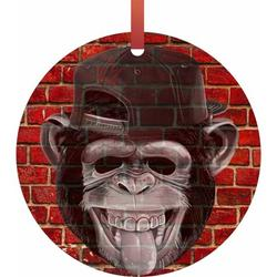 Punk Monkey Brick Wall Street Art Style Print Flat Round - Shaped Christmas Holiday Hanging Tree Ornament Disc Made in the U.S.A.