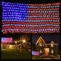 Funiao American Flag Lights, 6.5Ft×3.3Ft 420 Led Flag Net Lights Waterproof Flag String Lights Outdoor Lighted Us Flag Decoration For Independence Day Yard Garden Christmas Tree Party Patio Wall