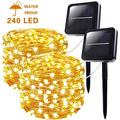2-Pack Solar String Lights Outdoor, Upgraded Super Bright & Durable 240LED Solar Lights Outdoor, IP65 Waterproof Copper Wire 8 Modes Starbright Solar Lights for Christmas Garden Yard Tree Party