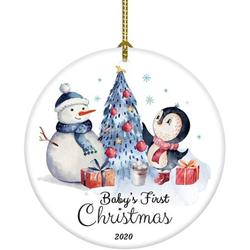 Popeven Baby's First Christmas Ornament Baby Bunny Baby Girl Boy First Christmas Ornament Gift for Baby (White Baby's First Christmas Ornament)