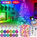 Fairy Lights USB Plug in Led String Lights, RGB LED Strip Light Music Sync Twinkle Lights Color Changing Fairy String Lights Bluetooth APP Wire Starry String Lights for Christmas Curtains Bedroom