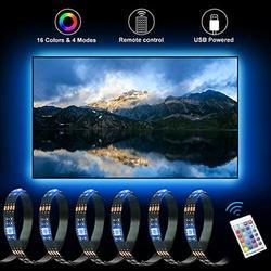 5050 RGB LED Strip Lights with Remote Control 6.56 Ft w/ 60 LED Lights LED Light Strip LED Rope Lights LED Tape Light Under Cabinet Lighting Lights for Bedroom TV Vanity, TikTok