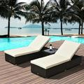 OWSOO 3 Piece Rattan Wicker Chaise Chair Set with Side Table