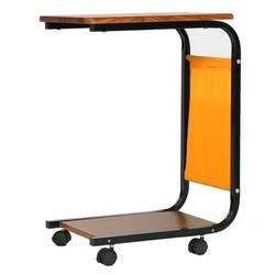 C Table Sofa Side End Tables Living Room Couch Table with Storage Pocket and Lockable Wheel Snack Table Small Spaces Side Table for Coffee Laptop Steel Frame Wood Look TV Tray Table for Eating