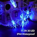 Halloween Bat String Lights, Battery Operated 11.5ft 30 LED Waterproof Decoration Lights 8 Lighting Modes for Indoor/Outdoor Halloween Party Holiday Yard Decorations Decor