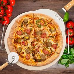 """pentaQ 4 Pieces Pizza Stone Set, 15"""" Pizza Stone for Grill and Oven with 10 Inch Stainless Steel Pizza Peel, Serving Rack and Pizza Cutter for Free, Cordierite Round Baking Stone"""