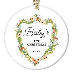 """New Baby Gifts, Baby's First Christmas Ornament Dated Year 2020, 1st Xmas Ceramic Present Keepsake Newborn Girl Babies Shower 3"""" Floral Flat Circle Porcelain with Gold Ribbon & Free Gift Box OR00410"""