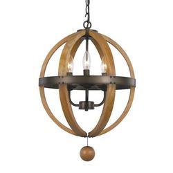 Trans Globe Lighting 70600 Weathered Bronze Forest Home 3 Light Globe Pendant
