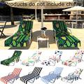 """Windfall Stripe Cactus Flamingo Beach Sunbathing Lounge Chair Cover Towel with Pockets for Hotel Vacation Sunbathing Garden Lawn Chair,Quick Drying - 84.65"""" x 29.53"""""""