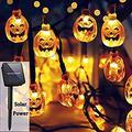Halloween Decor Pumpkin String Lights, Solar String Light,20ft 30 LED Outdoor Decorative Lights for Patio, Garden, Gate, Yard, Halloween Christmas Decoration (IP65 Waterproof,Warm White)