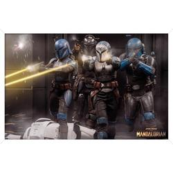 "Trends International Star Wars: The Mandalorian Season 2 - Battle Group Wall Poster 24.25"" x 35.75"" x .75"" White Framed Version"