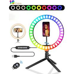 """10"""" RGB Selfie Ring Light, 10 Colors LED Ring Light with Tripod Stand/Phone Holder/Camera Remote Shutter Best 10 Brightness Levels Dimmable LED Ring Light for Makeup,YouTube, Photography"""