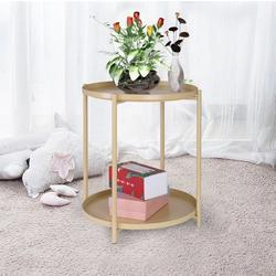 """BLUKIDS Tray Metal End Table, Sofa Table Small Round Side Tables, Anti-Rust and Waterproof Outdoor & Indoor Snack Table, Accent Coffee Table,(H) 20.28"""" x(D) 16.5""""(Yelloe)"""