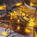 Solar String Lights Outdoor,2 Pack Patio Lights with 50 LED 31FT,IP65 Waterproof Outdoor String Lights,8 Models Fairy Lights,Outdoor String Lights for Helloween,Christmas(2 Pick, Warm White)