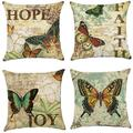 Popeven Christmas Throw Pillow Covers 18x18 inch Modern Decorative Cotton Linen Square Pack of 4 Throw Pillow Covers Cushion Case for Sofa, Bed, Car (Butterfly)