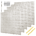 20 PCS 3D Brick White Wallpaper Peel and Stick Panels With Brick Textured Effect Wall Decor Adhesive Wall Paper for Bathroom, Kitchen, Living Room Home Decoration 90 Square Feet Coverage