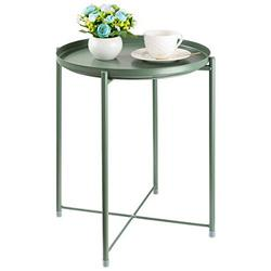 CERBIOR Tray End Table, Round Metal Tray Table Side Sofa Table Anti-Rust and Waterproof Outdoor & Indoor Snack Table Accent Coffee Table, Dark Green