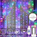 Xelparuc Led Light String, 8 Mode Remote Control Waterproof Christmas Curtain Light String Led Light String USB Waterfall Light Copper Wire Light Curtain Light Colorful 300