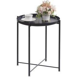 OVICAR Metal Tray End Table, Round Accent Coffee Side Table, Anti-Rust and Waterproof Outdoor Small Side Table, Indoor Modern Sofa Side Table Bedside Table for Living Room Bedroom Balcony (Black)