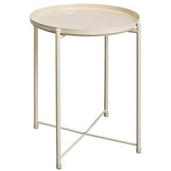 """HollyHOME Tray Metal End Table, Sofa Table Small Round Side Tables, Anti-Rust and Waterproof Outdoor & Indoor Snack Table, Accent Coffee Table,ï¼H) 20.28"""" xï¼D) 16.38"""", Cream-Colour"""