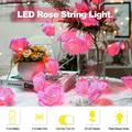 moobody LED Rose String Light with 2 Modes 2.5-meter Length 20 Bulbs Fairy String Lights Bed Light Night Light Home Decor for Valentine's Day Party Bedroom Windows Christmas Tree Warm Glow Light