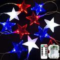 21 LED Red, White and Blue American Star Lights, Battery Operated July 4th Lights, 8 Modes Independence Day String Lights Patriotic Décor for Indoor Outdoor July 4th Decor, Memorial Day, Christmas