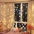 Curtain String Light, 3M X 3M 300 Led Fairy String Light, Romantic Christmas Wedding Decoration Curtain String Light For Home Garden Patio Party Bedroom Wall Decorations (Warm White Light)