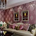 QIHANG European Style 3D Damask Pearl Powder Non-Woven Wallpaper Roll Purple&Red Color 0.53m10m=5.3?