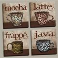 Fun, Trendy Animal Print Mugs; Latte, Frappe, Mocha, and Java Signs; Kitchen Décor; Four 12 by 12-Inch Canvases; Ready to hang!