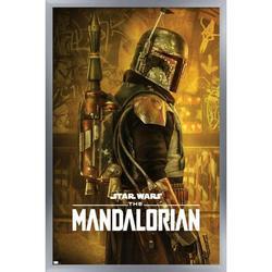 "Trends International Star Wars: The Mandalorian Season 2 - Boba Fett One Sheet Wall Poster 16.5"" x 24.25"" x .75"" Silver Framed Version"